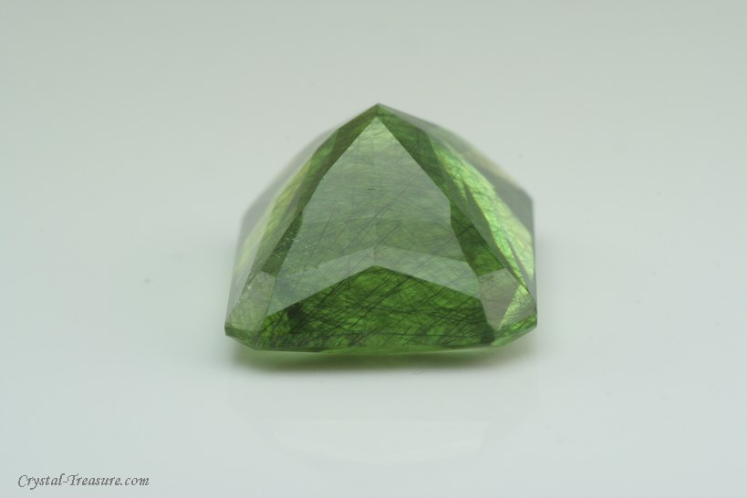 Big Faceted Peridot W Ludwigite Inclusions Crystal